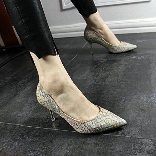 YMFIE Señoras Europeas de la Primavera y el Verano Bien con los Zapatos de tacón Alto a Juego del Color del Partido del Solo Tejido B