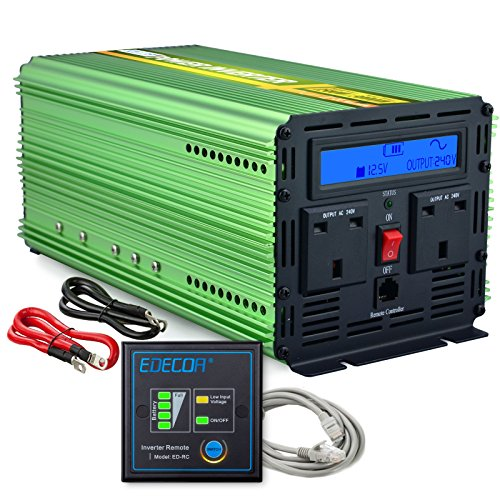 EDECOA 1500W Power Inverter Pure Sine Wave DC 12V to 240V AC Car Vehicle...