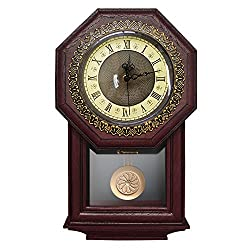 Giftgarden Silent Wall Clock with Pendulum Antique Retro Non Ticking Quartz Movement Clocks, Classical Decor for Bedroom, Living Room, Kitchen. Indoor Wall Decoration