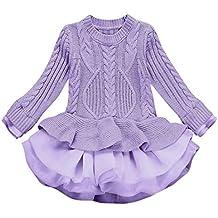 Anxinke Little Girls Spring Autumn Long Sleeve Knitted Sweater Tulle Dress (Size:6T, Purple)