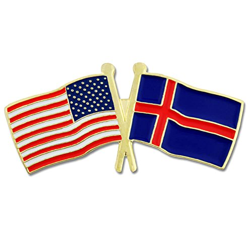 Best Friend Usa Flag (PinMart's USA and Iceland Crossed Friendship Flag Enamel Lapel Pin)