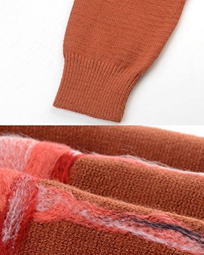 Rouge Pulls Longues Longue Casual Manches Ronde Femmes Lache Robe Cou YiLianDa Pullover de Automne Zip wAfqO6