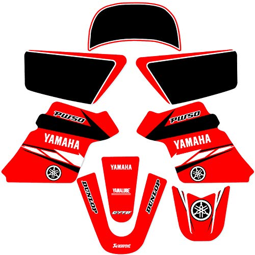 Graphics Kit Decal (YAMAHA PW 50 PW50 GRAPHICS KIT DECALS DECO Fits Years 1990-2018 Enjoy Mfg (RED))
