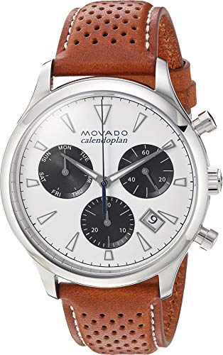 Movado Men's Swiss Quartz Stainless Steel and Leather Casual Watch, Color:Brown (Model: (Movado Black Clock)