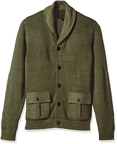 Lucky Brand Men's Military Shawl Collar Cardigan Sweater, Spring Olive, L by Lucky Brand