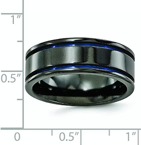 Titanium Black Ti Grooved Blue Anodized 8mm Band Fine Jewelry Ideal Gifts For Women