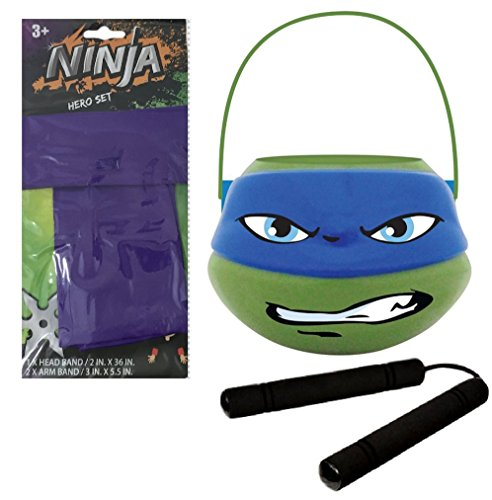 [Ninja Treat Bucket, Purple Head Band, Armbands, Nunchakus for Dress-Up, Costume, Pretend Play] (Nickelodeon Teenage Mutant Ninja Turtles Treat Bags)