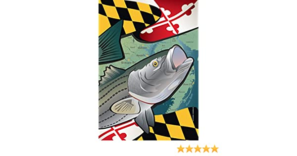 huge selection of 02e06 dc5d1 Amazon.com  Citizen Pride Maryland Rockfish Large House Flag by Joe Barsin,  28x40  Home   Kitchen