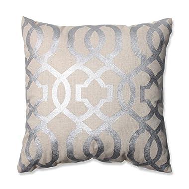 Pillow Perfect Geometric Throw Pillow, 16.5-Inch, Silver/Linen