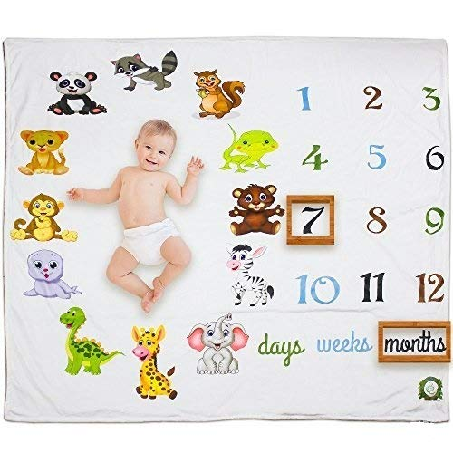 - Baby Monthly Milestone Blanket 40x60 Unisex Boy or Girl | Neutral Reusable Photography Prop Background | Colorful Baby Shower Gift | Newborn to 12 Months | with Free Wreath and Felt Frame