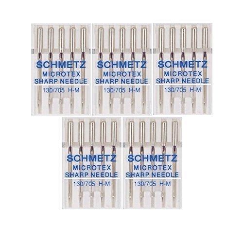 25 Schmetz Microtex Sharp Sewing Machine Needles 130/705 H-M Size 70/10 by Schmetz