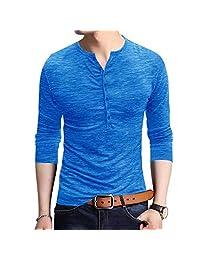 JXClothing Men Cotton Slim Solid Henley T-Shirt Polo Short Sleeve Button Placket Neck