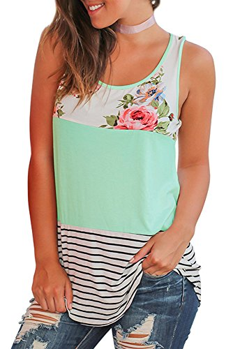 Womens Tops Sleeveless Round Neck Stripe T-Shirts Tank Tops Green M