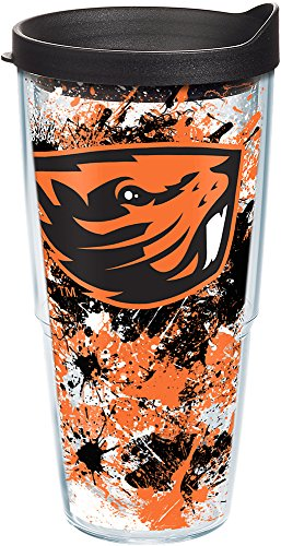 Tervis 1167262 Oregon State Beavers Splatter Tumbler with Wrap and Black Lid 24oz, Clear