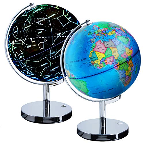 (USA Toyz Illuminated Constellation World Globe for Kids - 3 in 1 Interactive Globe with Constellations, Light Up Smart Earth Globes of The World with Stand)