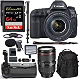 Cheap Canon EOS 5D Mark IV Full Frame Digital SLR Camera with EF 24-105mm f/4L is II USM Lens Kit, Sandisk 64GB, Polaroid 160 LED Video Light, Microphone, Backpack and Accessory Bundle