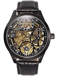 Big Case 47MM XL Automatic Mechanical Crystal Black Leather Wrist Watch + Gift Box