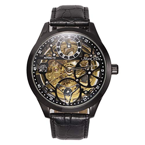 Watch Mens Gift Wrist - ManChDa Big Case 47MM XL Automatic Mechanical Crystal Black Leather Wrist Watch + Gift Box