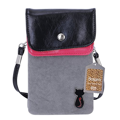 Bosam Universal Cross-body Stylish Cute Cat Purse Soft Fuzz Fabric Mobile Pouch with Detachable Strap for Smart Phones Under 5.5 inch (Grey)
