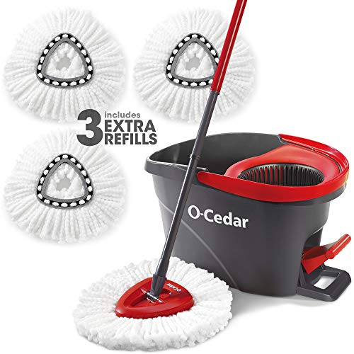 O-Cedar Easy Wring Spin Mop and Bucket System (Spin Mop with 2 Extra Refill) (Spin Mop with 3 Extra Refills)