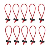 Foto&Tech 10-Pack Multipurpose Extra Thick Toggle Tie/Cable Tie and Organizer/Adjustable Whips/Elastic Loop/Instant Clutter Killer/Tangle Tamer/Cable Management for Cord & Cable Reusable (Red)