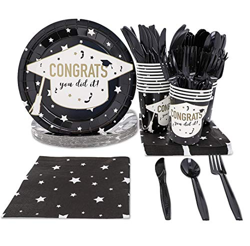 Graduation Party Supplies – Serves 24 – Includes Plates, Knives, Spoons, Forks, Cups and Napkins. Perfect Patriotic Party Pack for Grad Themed Parties. -