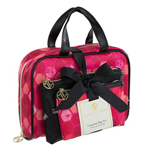 Adrienne Vittadini Set of 3 Satchel Cosmetic Case (Black & Pink Hex)