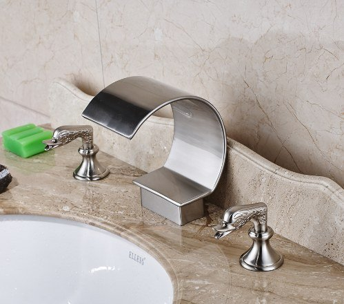 Gowe Nickel Brushed Finished Deck Mounted Bathroom Sink Faucet Two Handles Hot and Cold Water Mixer Tap 1