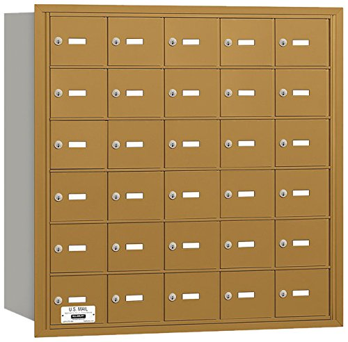 Salsbury Industries 3630GRU 4B Plus Horizontal Mailbox, 30 A Doors, Rear Loading, USPS Access, Gold