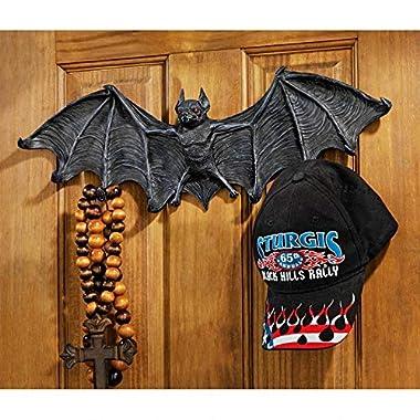 Design Toscano Key Hook Rack - Vampire Bat Key Holder Wall Sculpture: Large - Bat Figure - Halloween Bats