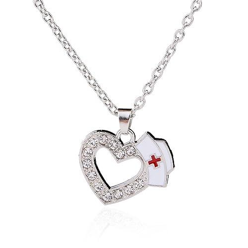 busca lo último mejor autentico estilos frescos Collar con corazón de cristal y gorro de enfermera, un ...