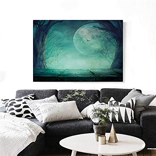homehot Halloween The Picture for Home Decoration Spooky Teal Forest Moon and Vain Branches Mystical Haunted Horror Rustic Imagery Print Customizable Wall Stickers 24
