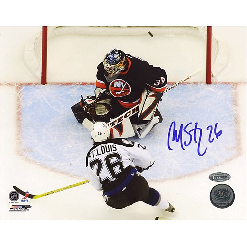 NHL Martin St Louis Playoff Goal Vs. DiPietro Autographed 8 x 10-Inch Photograph
