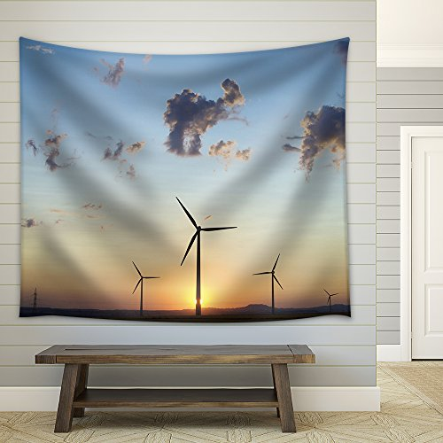 wall26 - Windfarm Skyline at Sunset in Spain - Fabric Wall Tapestry Home Decor - 68x80 inches by wall26