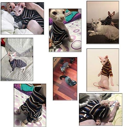 Bonaweite Hairless Cats Stripe T-Shirt, Breathable Cat Wear Clothes Vest Shirts for Sphynx, Cornish Rex, Devon Rex, Peterbald 25