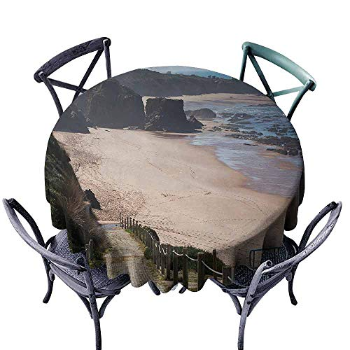 duommhome Beach Washable Table Cloth Western Portugal Ocean Coastline at Low Tide Vignettes Shot Canyons Wild Neat Scenery Easy Care D43 Multicolor