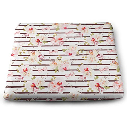 Comfortable Seat Cushion Print Bundle Striped Orchid Peony Bell-Shaped Flower - Memory Foam Filled for Outdoor Patio Furniture Garden Home Office