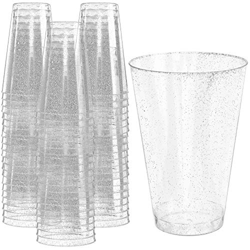 Glitter Disposable Cups | 12 oz. 50 Pack | Clear Plastic Cups | Silver Glitter Plastic Party Cups | Disposable Plastic Wine Glasses for Parties | Plastic Cocktail Glasses | Wedding Holiday Tumblers