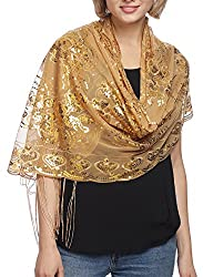 Gold Mesh With Sequin Metallic Shawl with Fringe.