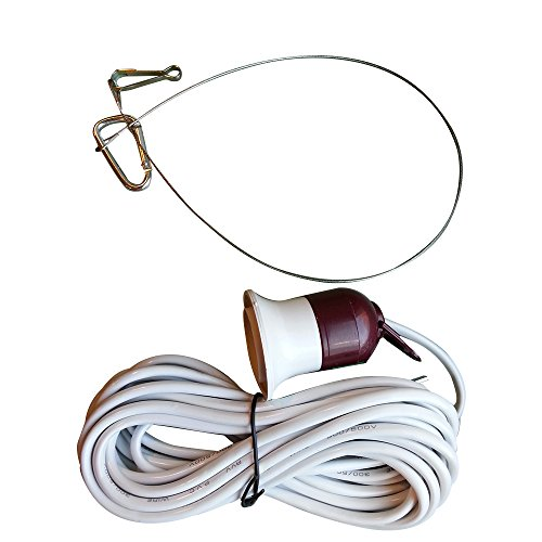 15 ft Hanging Light Cord/Hanging Light Socket with On/Off Switch by GrowHobby - Includes Hanging Wire and 2 Clips