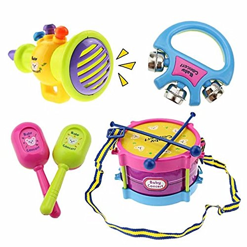 Toddler Musical Toys Instrument Learning Mini Drum and Electric Guitar Toys; Teaches Musical Discovery, Rhythm, and Creativity