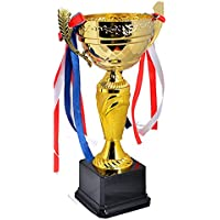 Avessa 119C Avessa 25 Cm Kupa Siyah Zemin Kupa Madalya Gold Kaplama Y119c Unisex, sarı, m