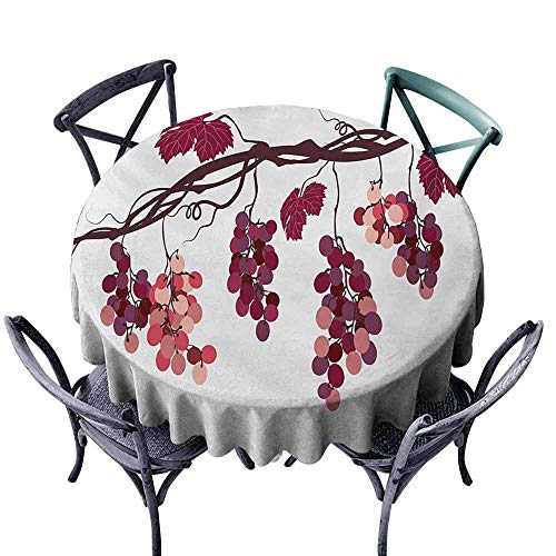 Pcglvie Wrinkle Resistant Tablecloth Fruit Vine Branch with