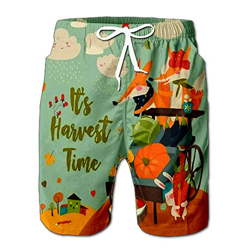 Cute Foxes with Wheelbarrow Fruits and Vegetables in Autumn Forest Men Swimwear Volley Pants Pocket L