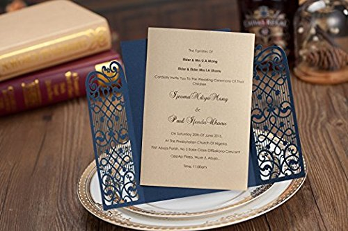 10pcs Cheap Laser Cut Wedding Invitation Card Stock With Royal European Style Open Door Design Hollow for Menu Marriage Birthday Party Supplies set of 10pcs
