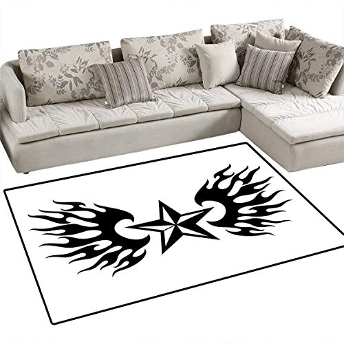 - Texas Star Door Mats Area Rug United States of America Themed Star and Flames Silhouette Abstract Design Bath Mat Non Slip 3'x5' Black and White