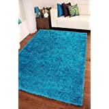 Shaggy Rug Teal Blue 963 Plain 5cm Thick Soft Pile 120cm x 170cm (4ft x 5ft 6) Modern 100% Berclon Twist Fibre Non-Shed Polyproylene Heat Set - AVAILABLE IN 6 SIZES by Quality Linen and Towels by AHOC