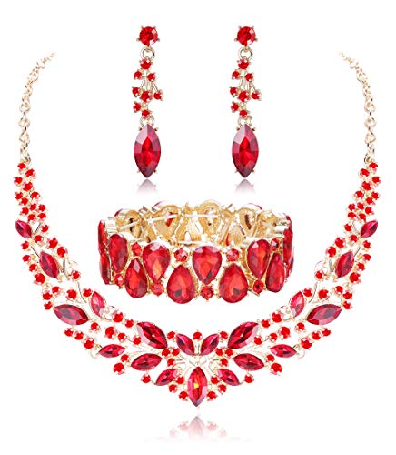 Fiasaso Wedding Crystal Jewelry Set for Women Bridal Rhinestone Necklace Earrings Bracelet Wedding Bridesmaid Jewelry red