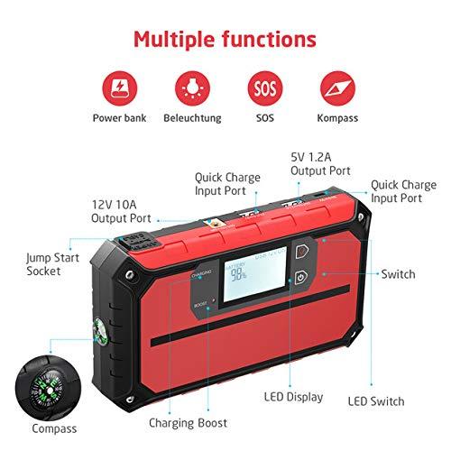 QC 3.0 Ausgang Autobatterie Wasserdichter Jump Starter mit LED Taschenlampe VICTSING 1000A Spitzenstrom Starthilfe- 12V Powerbank bis zu 7,5L Benzin oder 6L Dieselmotor Auto Starthilfe