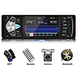 Podofo Bluetooth Car Stereo Receiver 4.1 Inch Screen Car Audio FM Radio MP3 MP4 Player Hands-Free Calling Built-in Microphone TF USB Aux-in with Wireless Remote Control, Rear View Camera